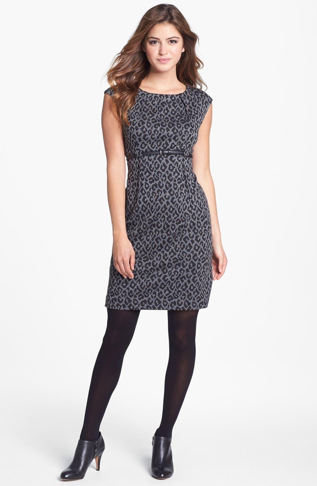 Alternate Image 4  - Calvin Klein Animal Print Cap Sleeve Ponte Sheath Dress