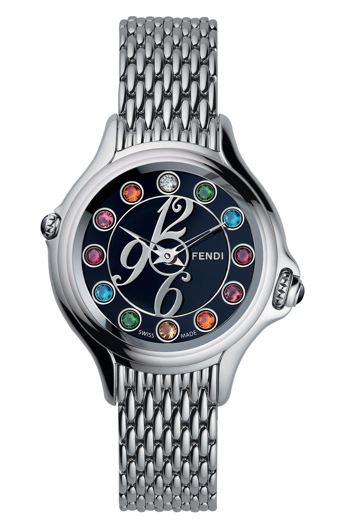 Alternate Image 1 Selected - Fendi 'Crazy Carats' Black Dial Bracelet Watch, 38mm