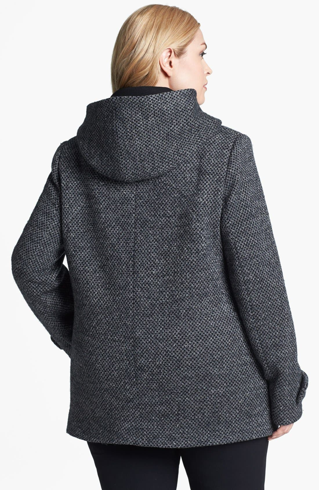 Alternate Image 2  - Kristen Blake Hooded Wool Blend Coat (Plus Size)
