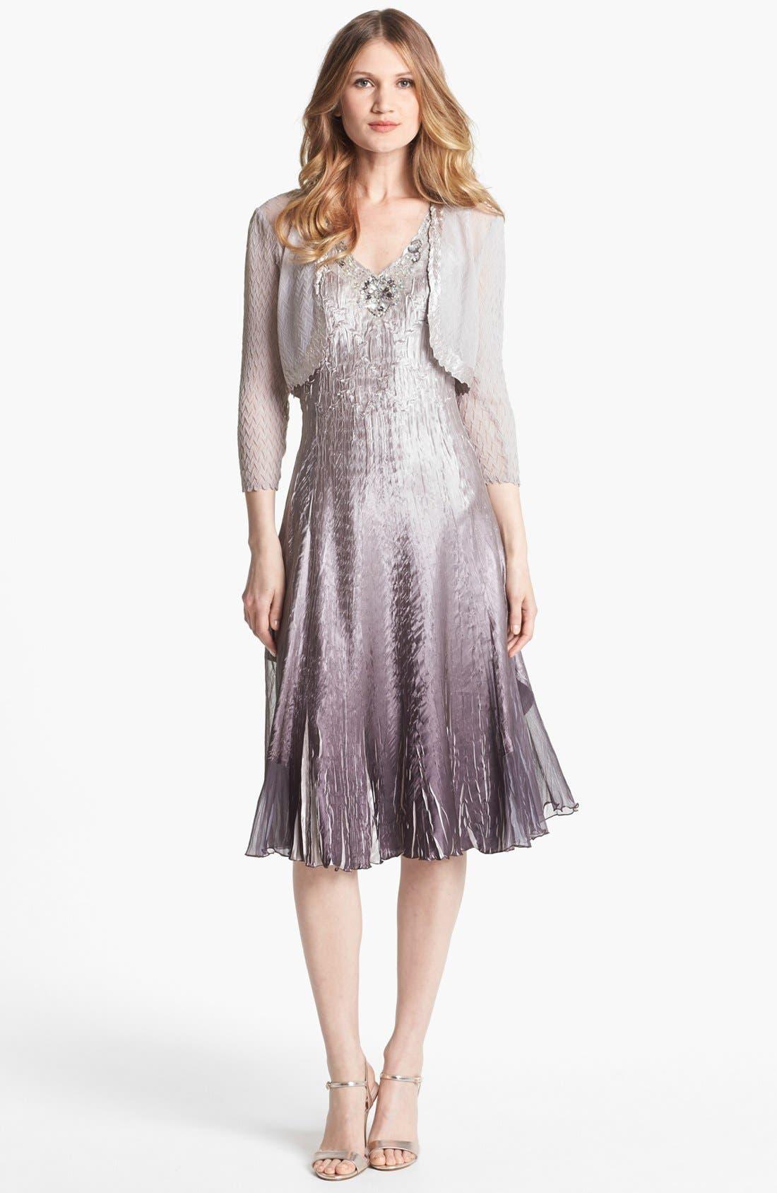 Main Image - Komarov Embellished Charmeuse Dress & Bolero (Petite)