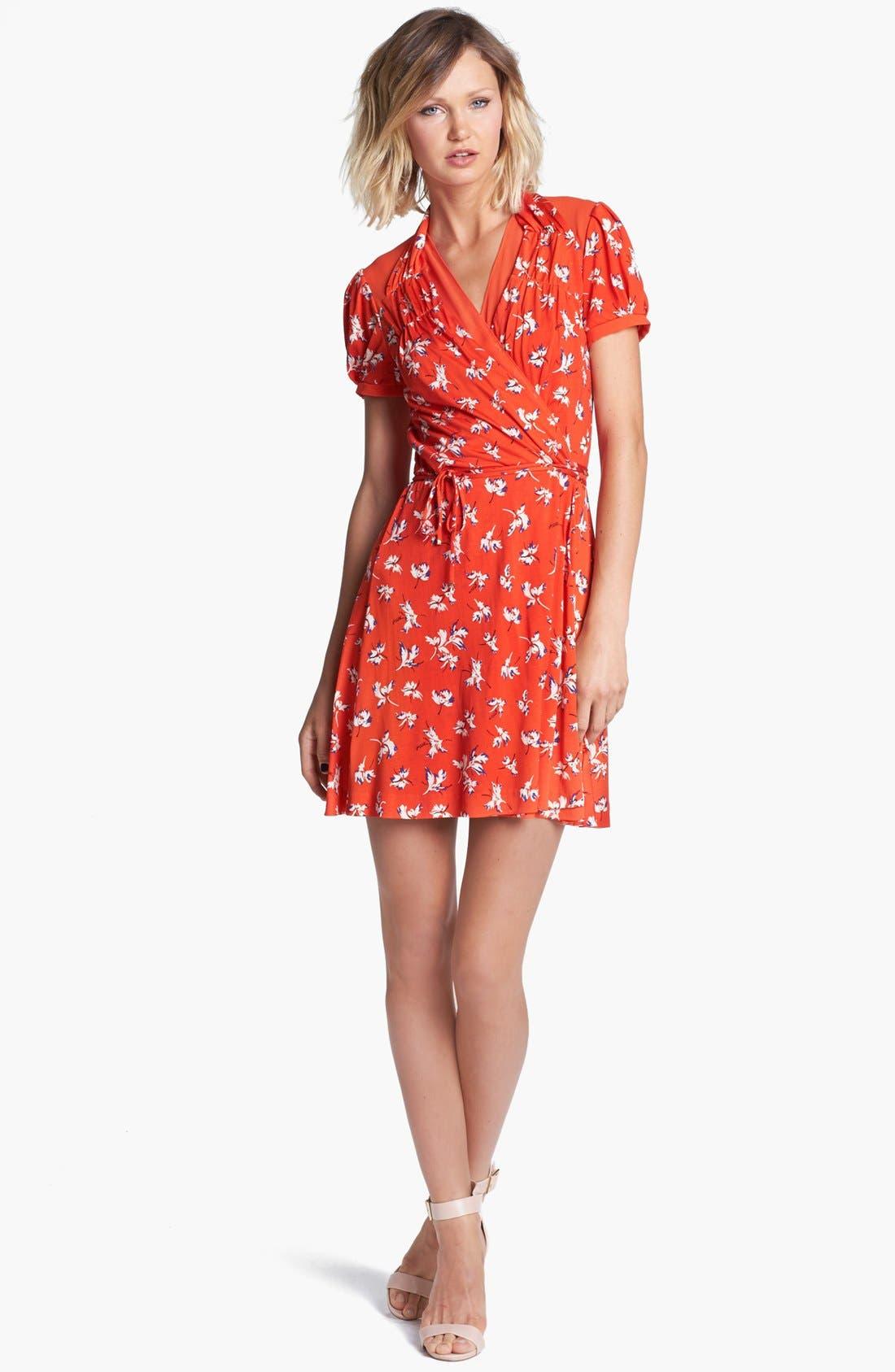 Main Image - Juicy Couture 'Feather Iris' Silk Wrap Dress