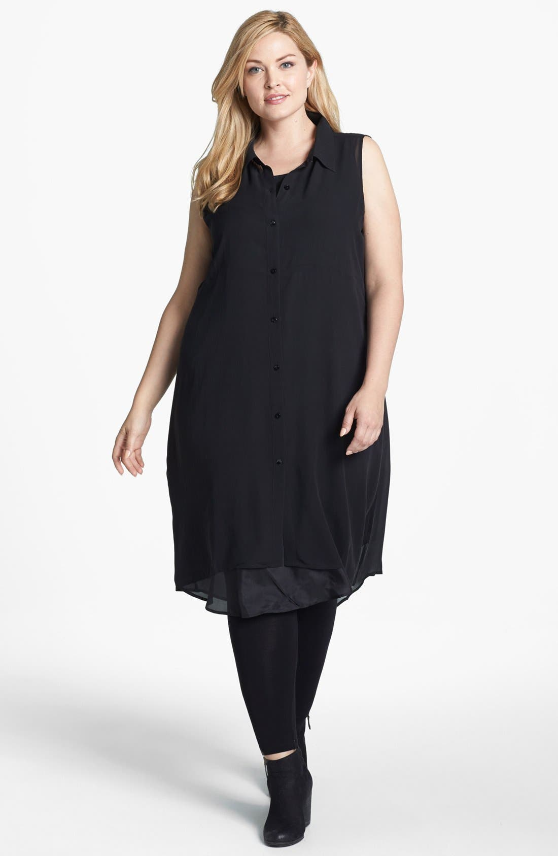 Main Image - Eileen Fisher Classic Collar Silk Shirtdress (Plus Size)
