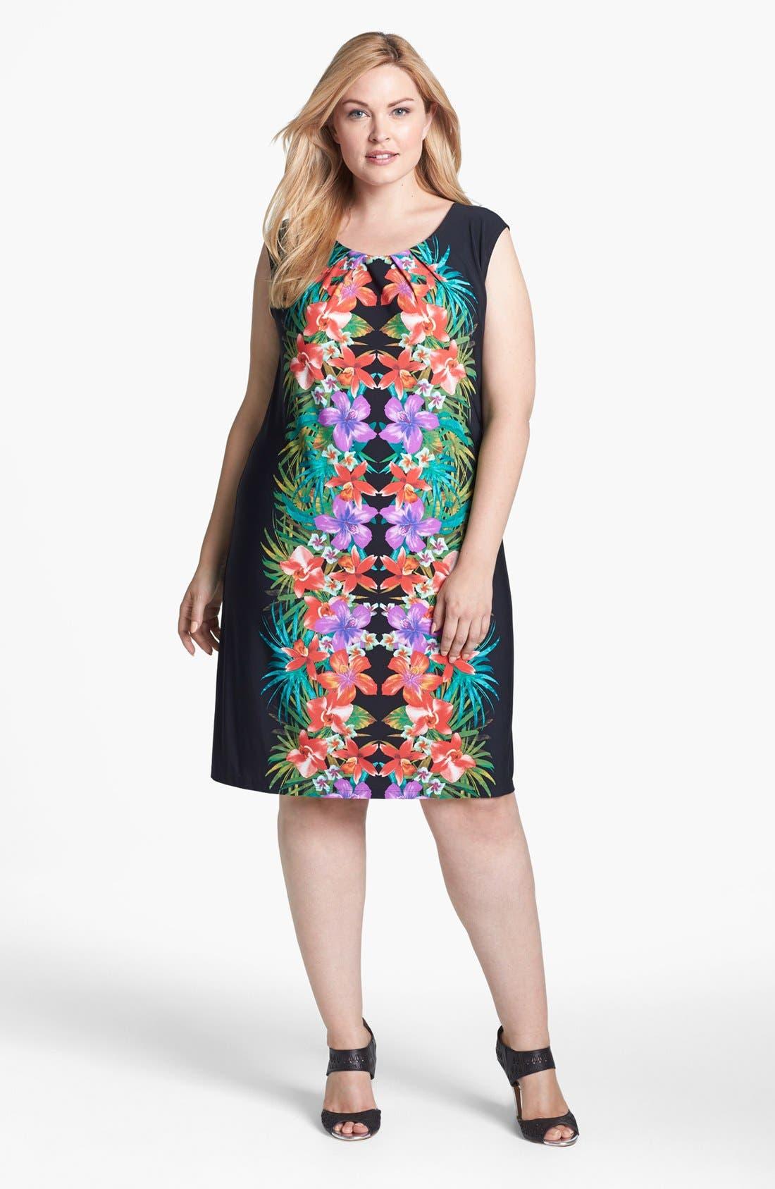 Main Image - London Times Print Shift Dress (Plus Size)