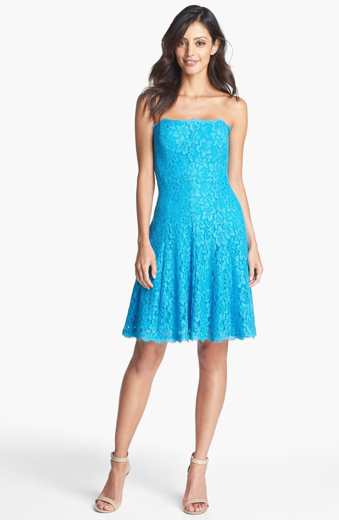 Alternate Image 1 Selected - Adrianna Papell Strapless Lace Dress (Regular & Petite)