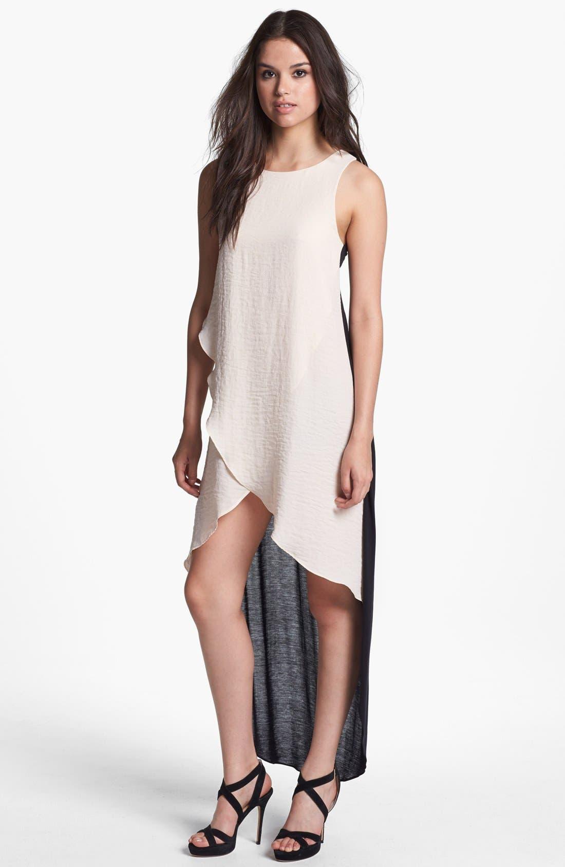 Main Image - Line & Dot Mixed Media High/Low Dress