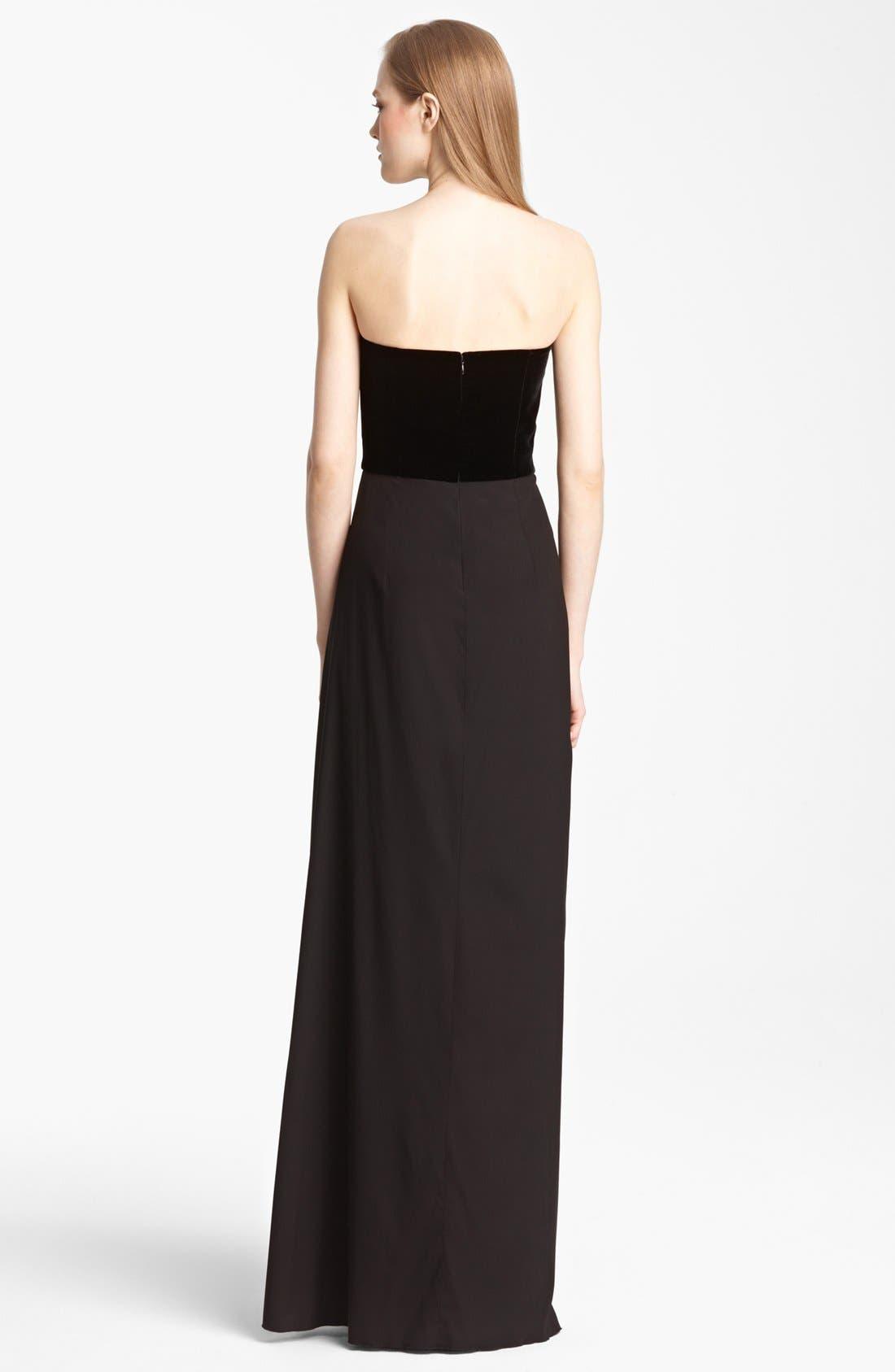 Alternate Image 2  - Armani Collezioni Strapless Velvet & Chiffon Dress