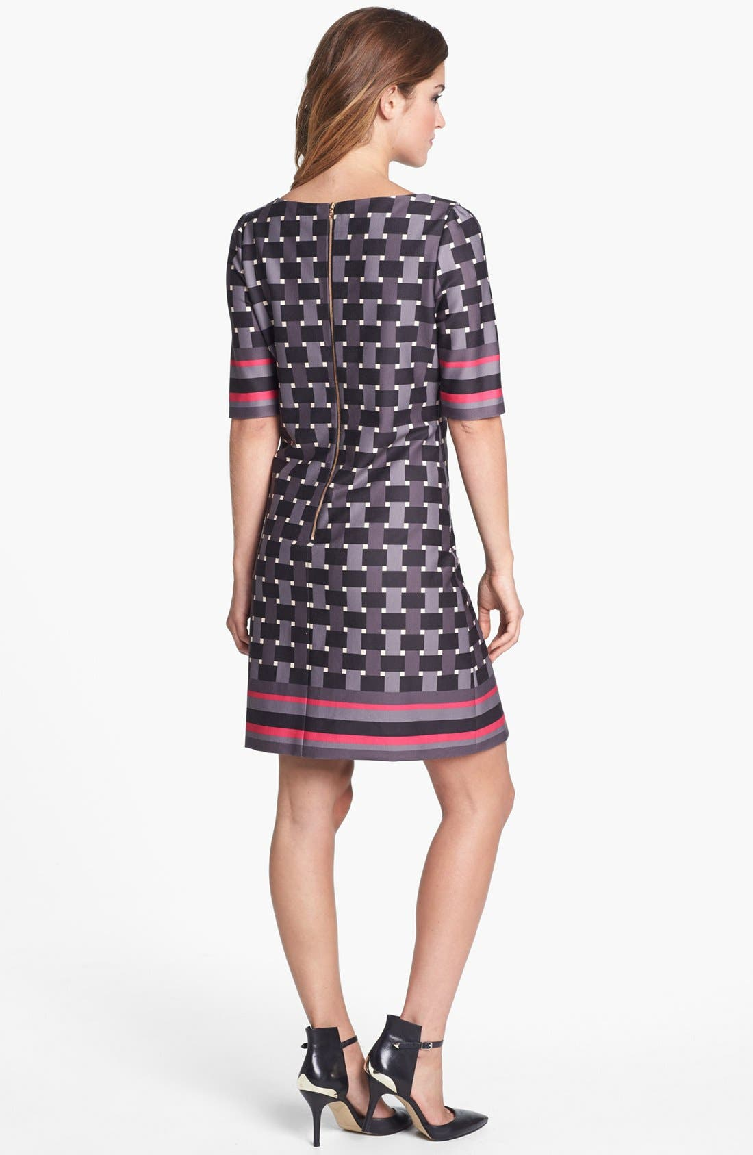 Alternate Image 2  - Eliza J Elbow Sleeve Geo Print Ponte Shift Dress
