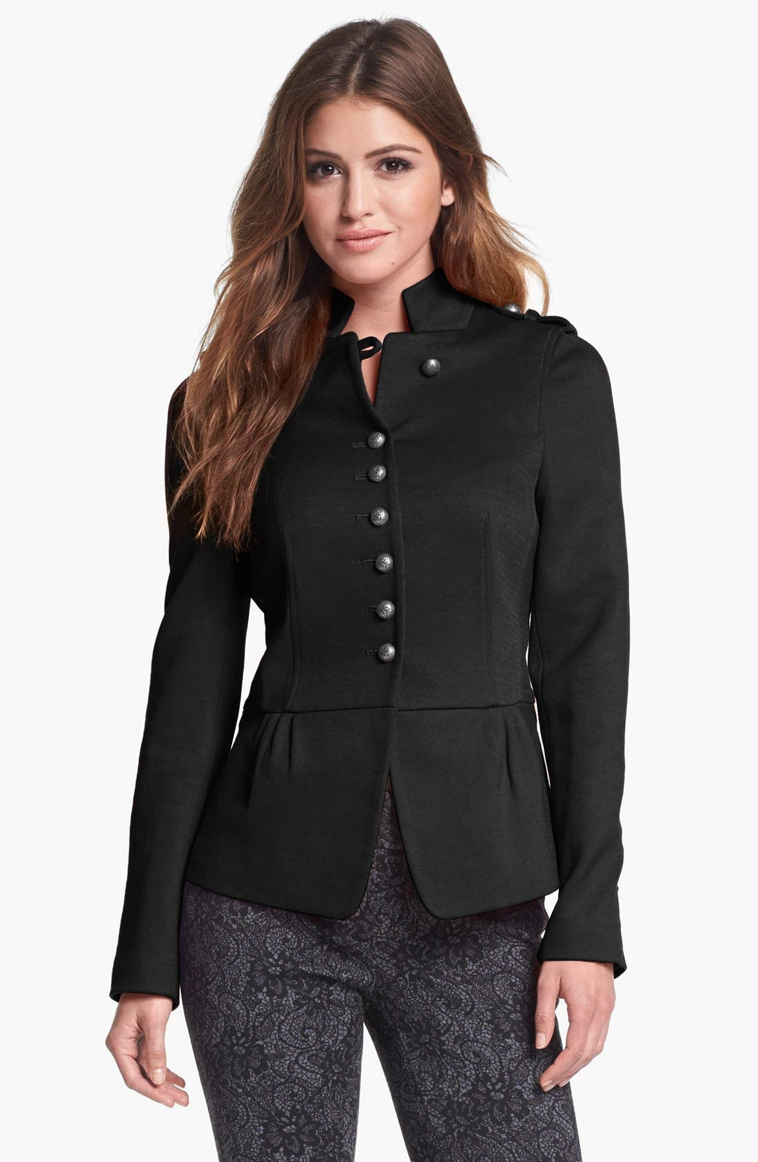 Main Image - Vince Camuto Military Ponte Peplum Jacket (Petite) (Nordstrom Exclusive)