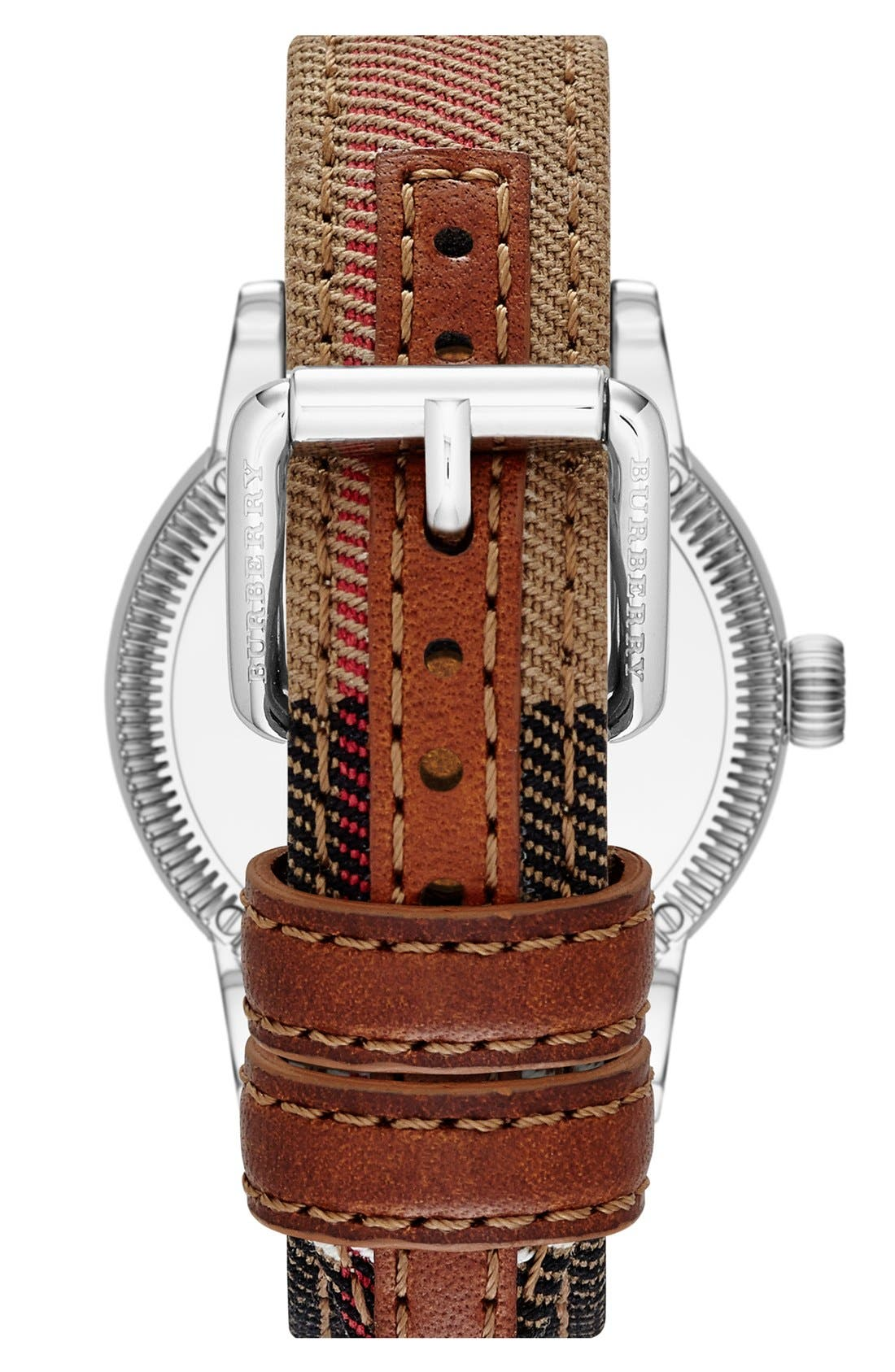 Alternate Image 2  - Burberry Round Dial Check Strap Watch, 38mm