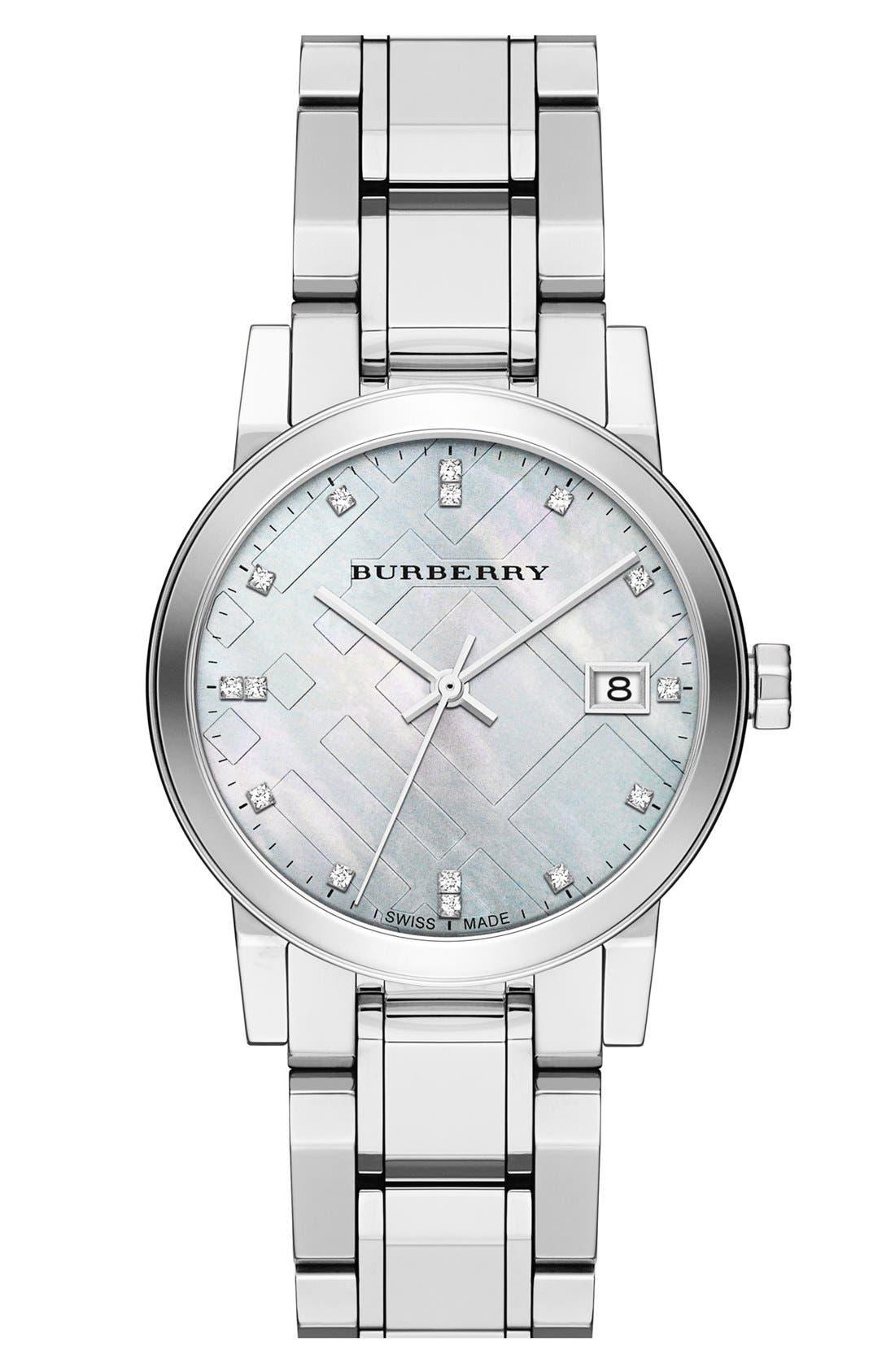 Alternate Image 1 Selected - Burberry Round Diamond Dial Bracelet Watch, 34mm