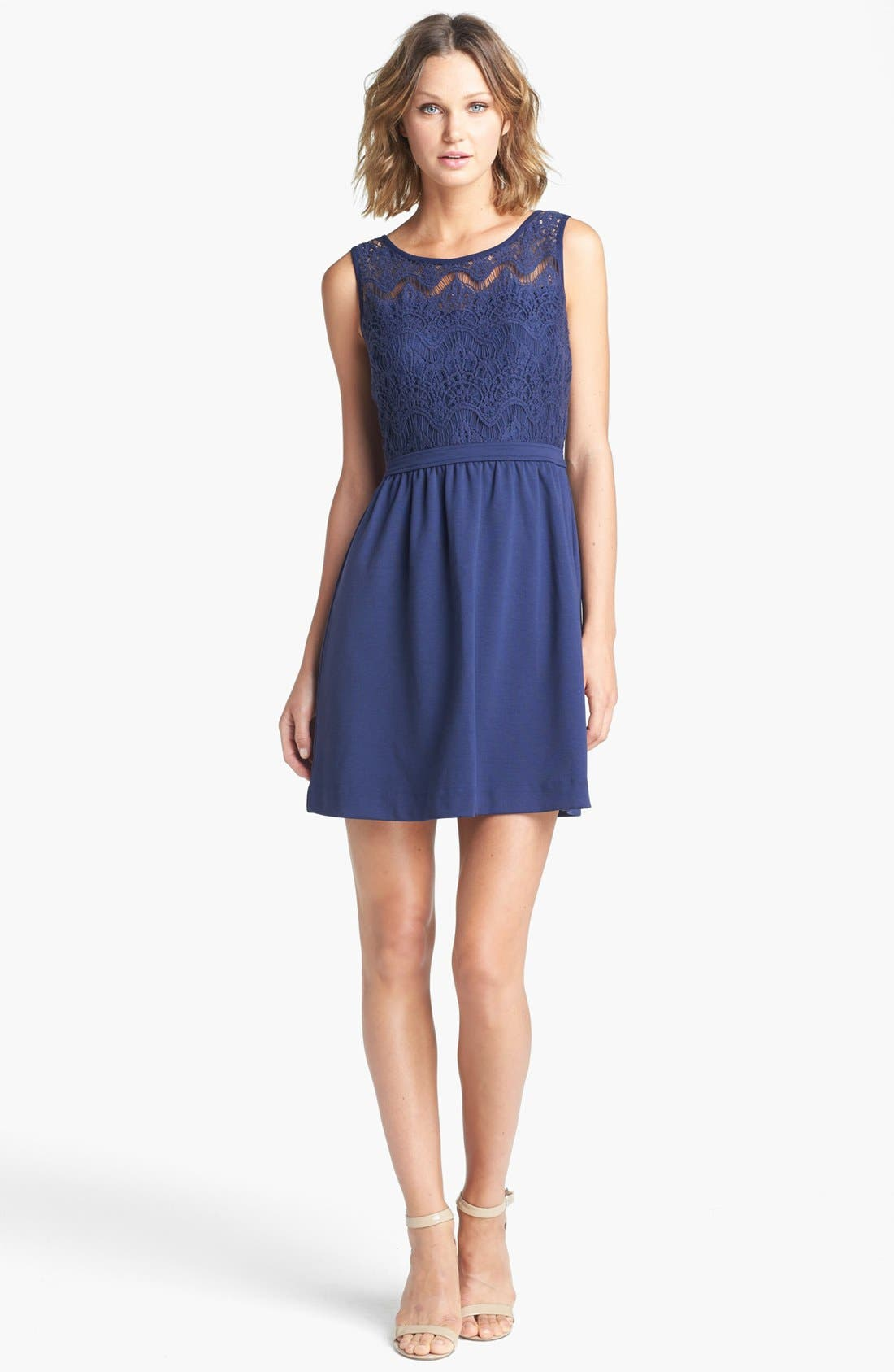 Alternate Image 1 Selected - Lilly Pulitzer® 'Rhea' Mixed Media Fit & Flare Dress