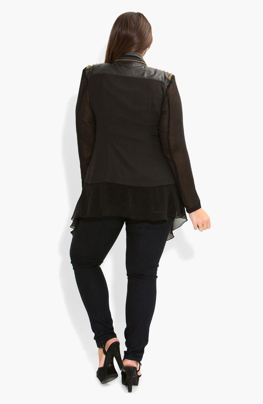 Alternate Image 4  - City Chic Studded Mixed Media Moto Jacket (Plus Size)