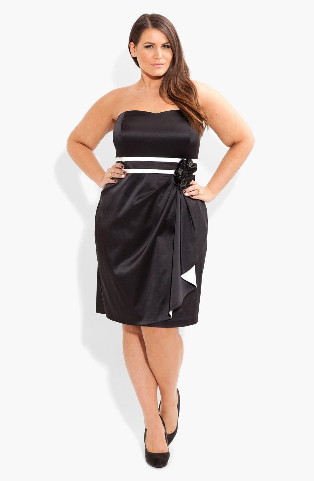 Alternate Image 1 Selected - City Chic 'Melissa' Embellished Contrast Trim Sheath Dress (Plus Size)