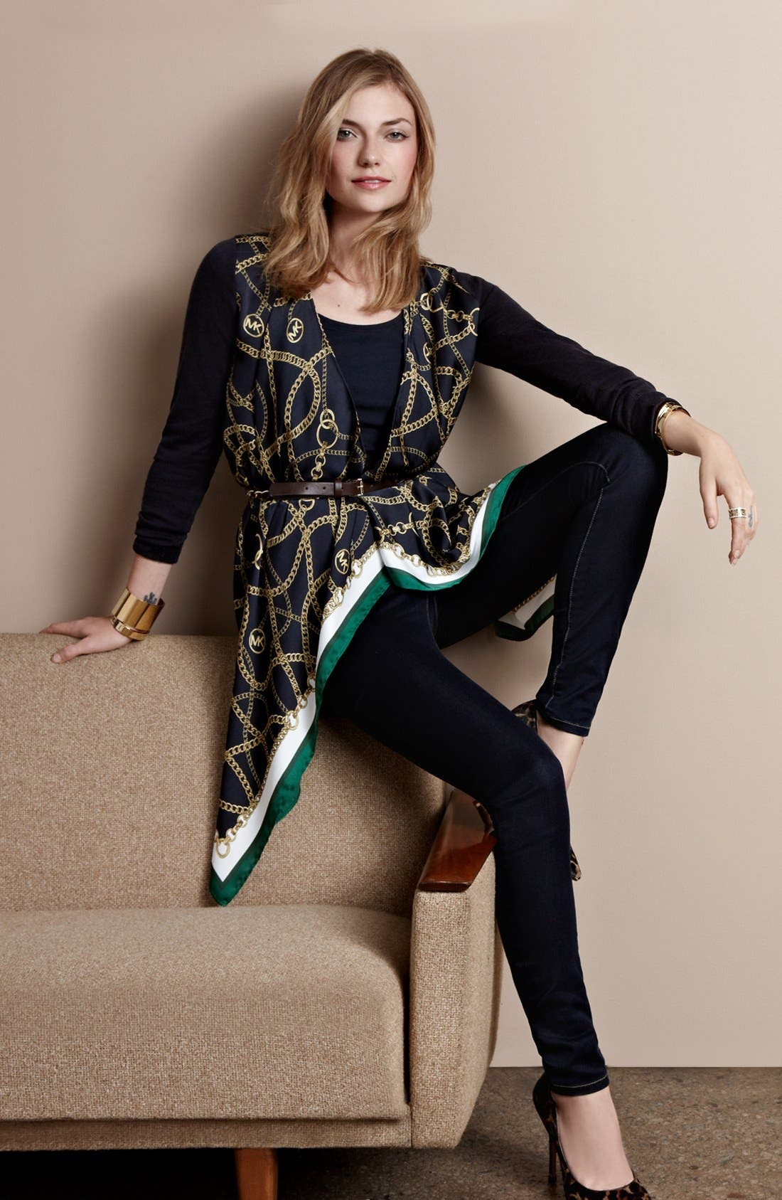 Alternate Image 1 Selected - MICHAEL Michael Kors Cardigan, Skinny Jeans & Accessories
