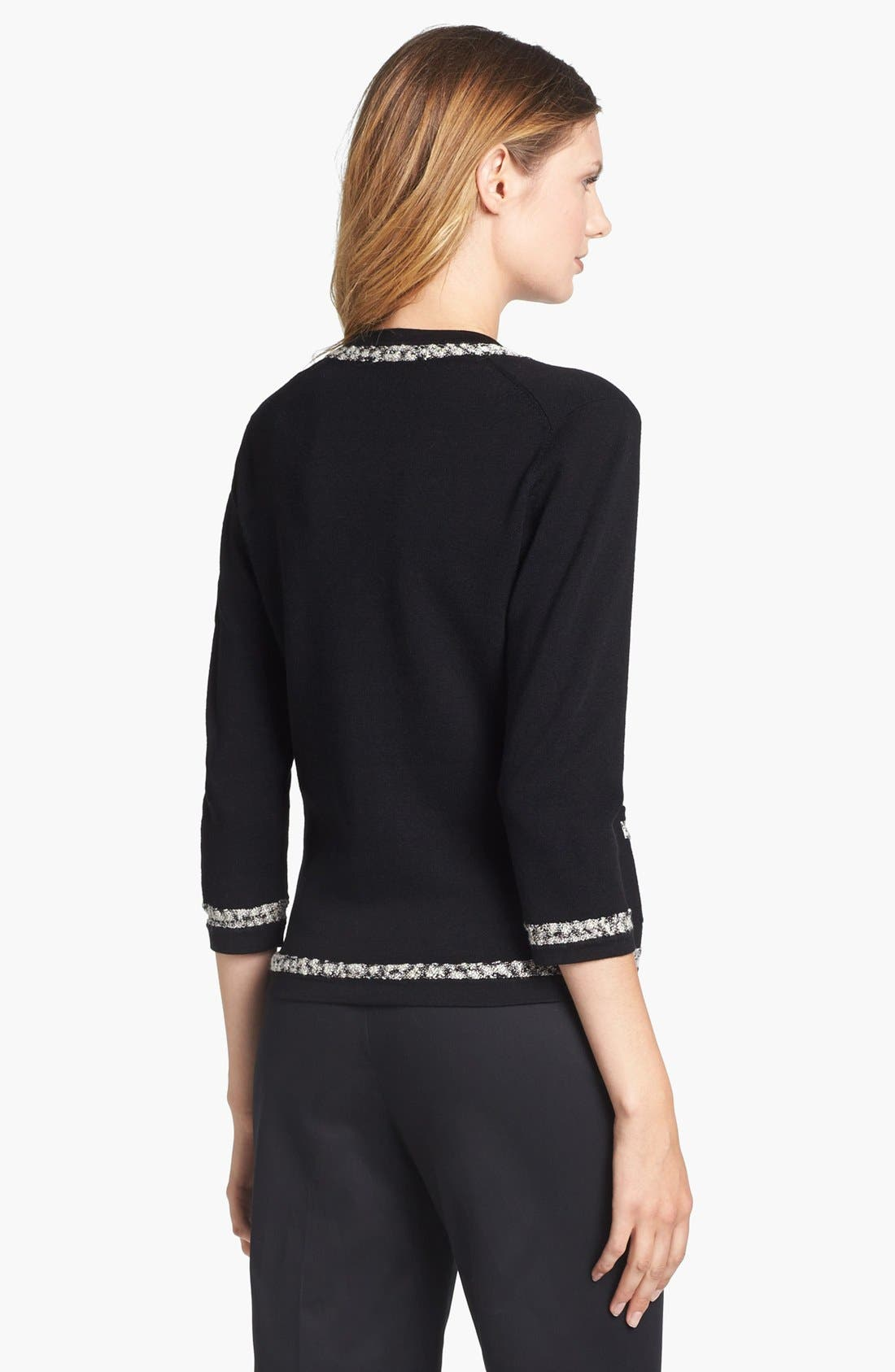 Alternate Image 2  - Classiques Entier® Tweed Trim V-Neck Cardigan