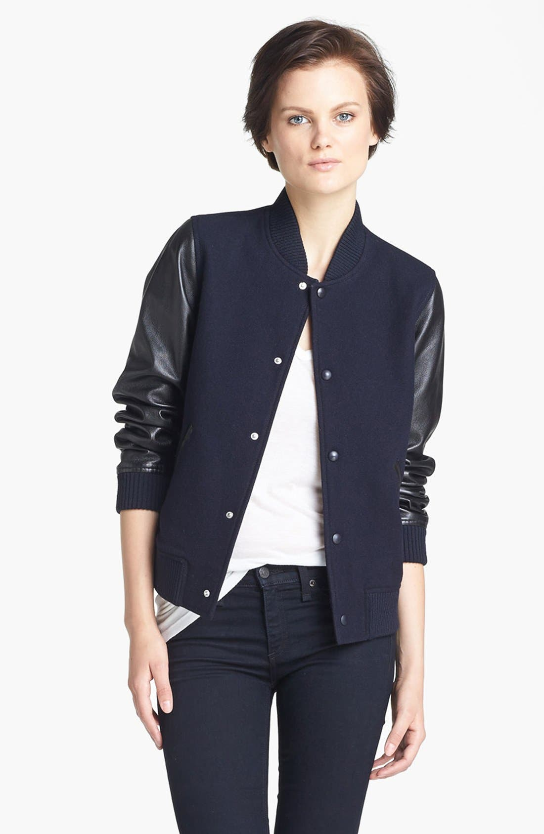 Main Image - A.P.C. Leather Sleeve Baseball Jacket