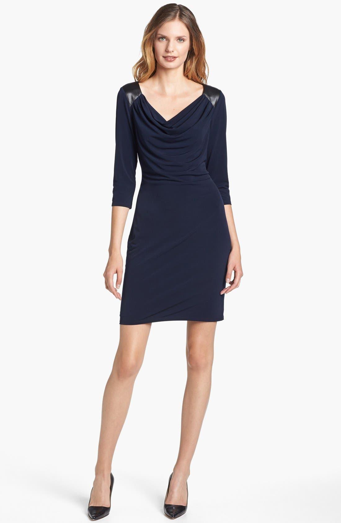 Alternate Image 1 Selected - Calvin Klein Faux Leather Trim Draped Jersey Dress