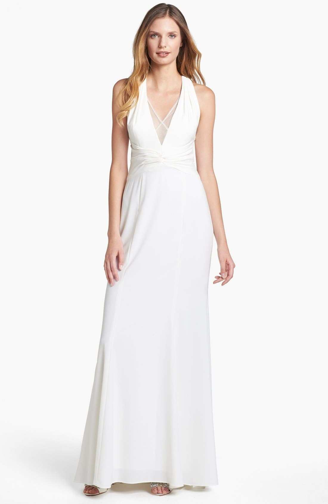 Main Image - Adrianna Papell Mesh Inset Stretch Crepe Gown