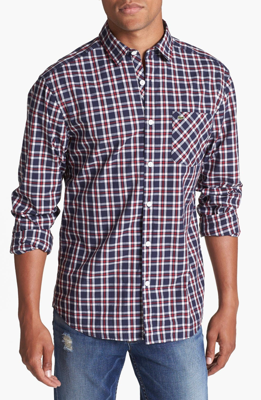 Main Image - Lacoste Slim Fit Plaid Shirt
