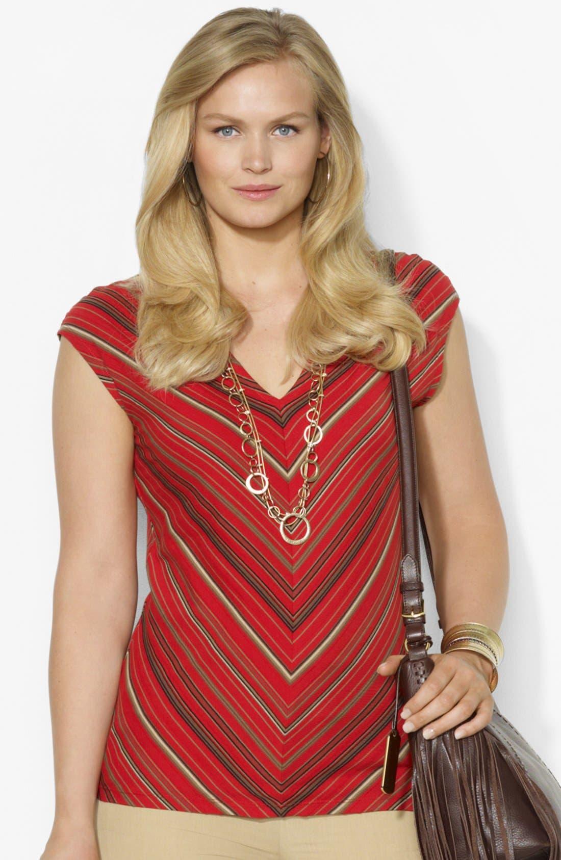 Alternate Image 1 Selected - Lauren Ralph Lauren Stripe V-neck Tee (Plus Size)