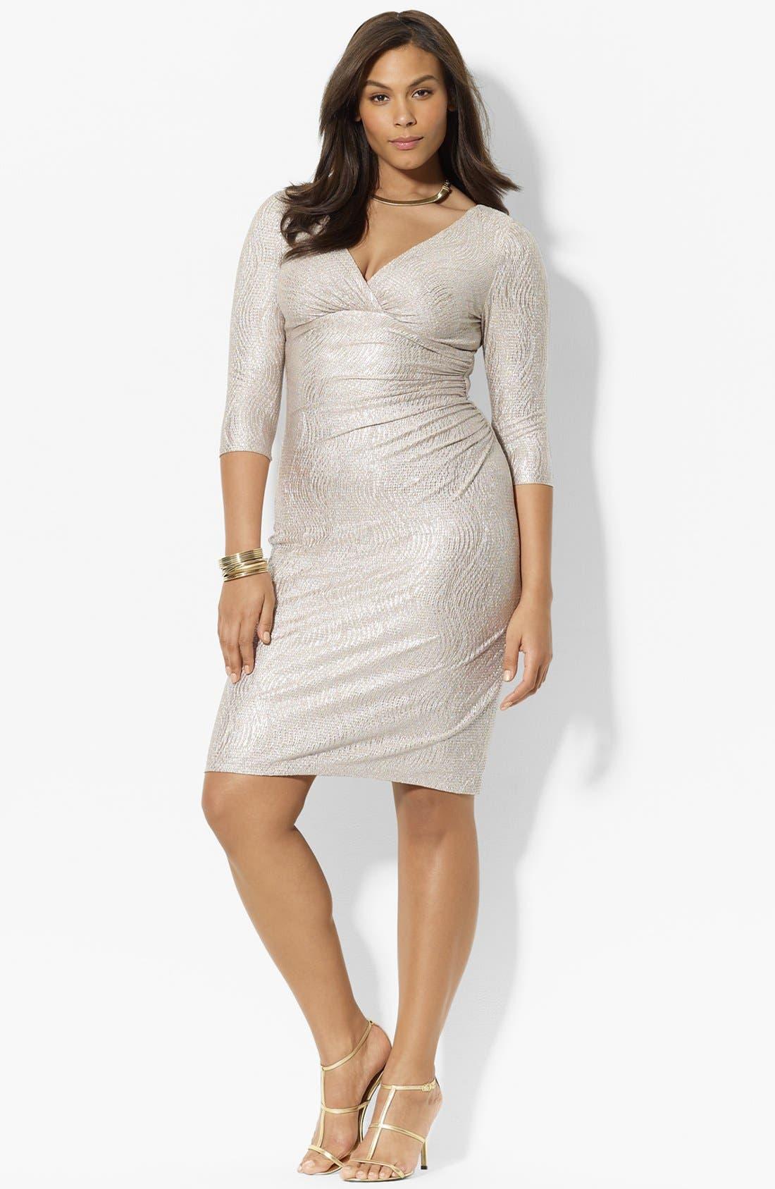 Alternate Image 1 Selected - Lauren Ralph Lauren Metallic Jersey Dress (Plus Size)