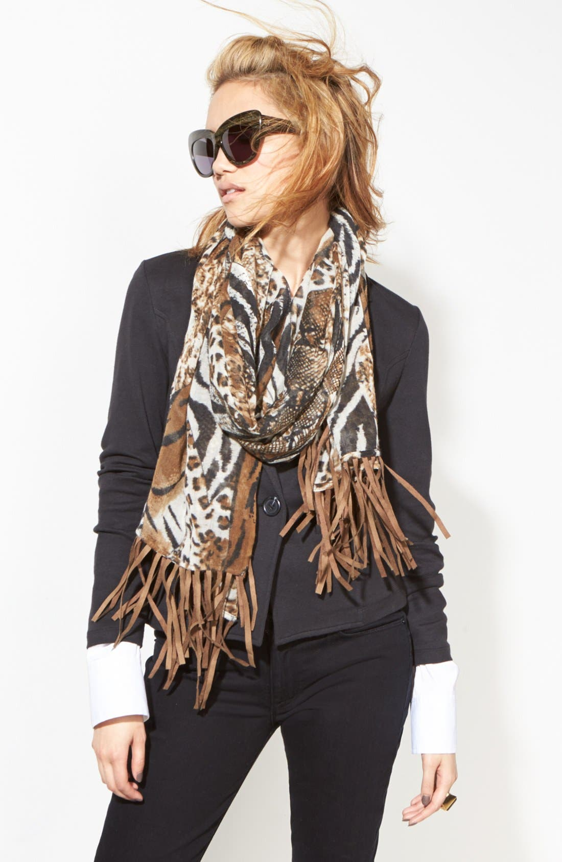 Alternate Image 2  - Lulla Collection by Bindya Fringed Animal Print Scarf
