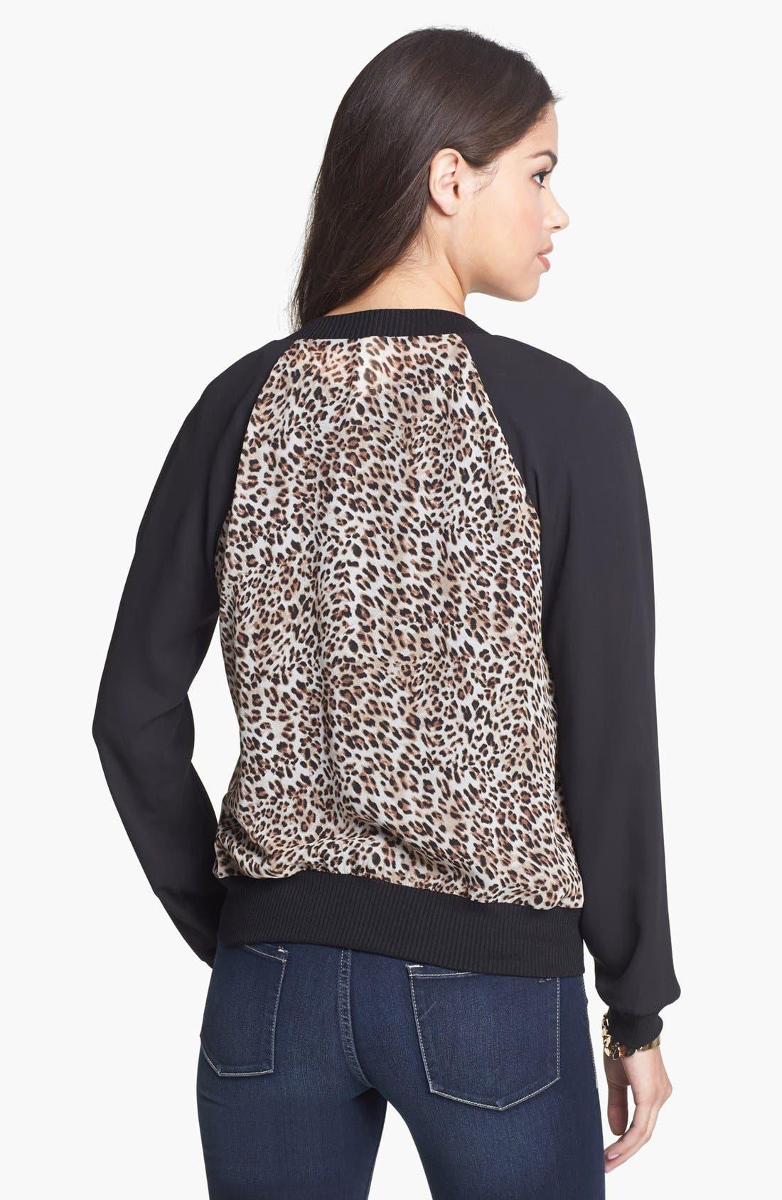 Alternate Image 2  - Starling Cheetah Print Bomber Jacket (Juniors)