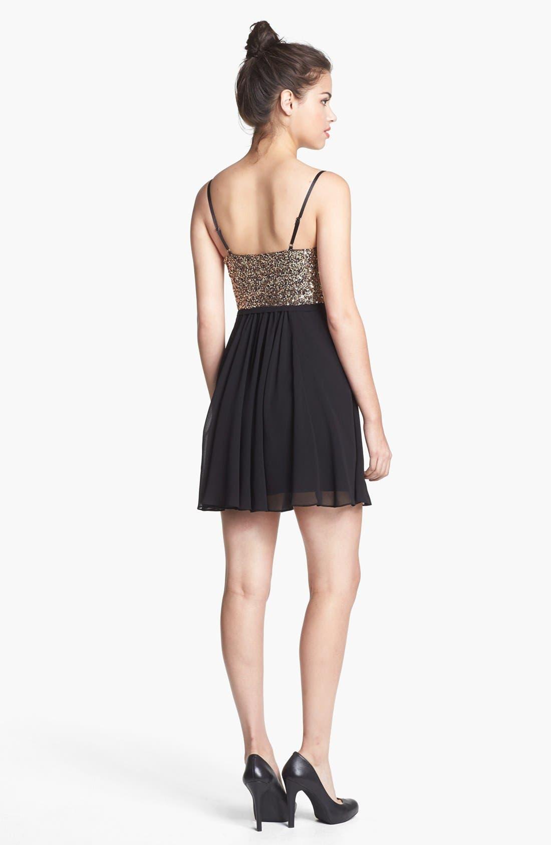 Alternate Image 2  - En Crème Sequin Bustier Skater Dress (Juniors) (Online Only)