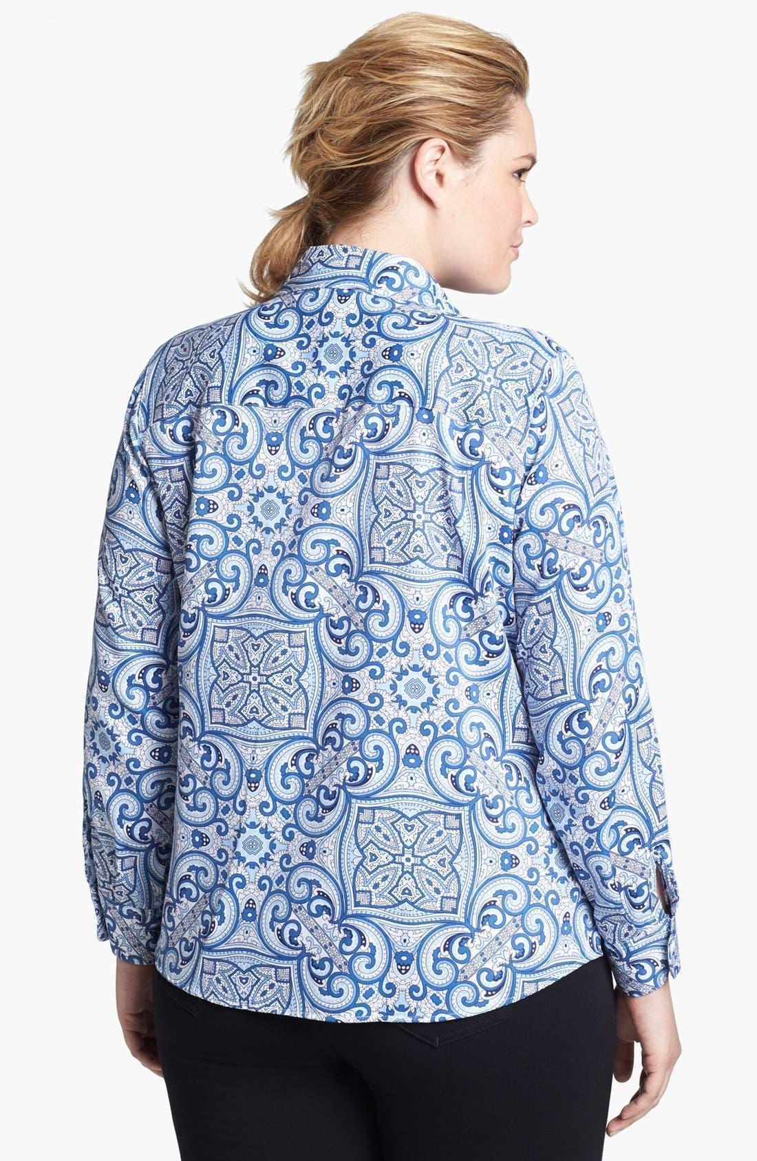 Alternate Image 2  - Foxcroft Print Shaped Shirt (Plus Size)