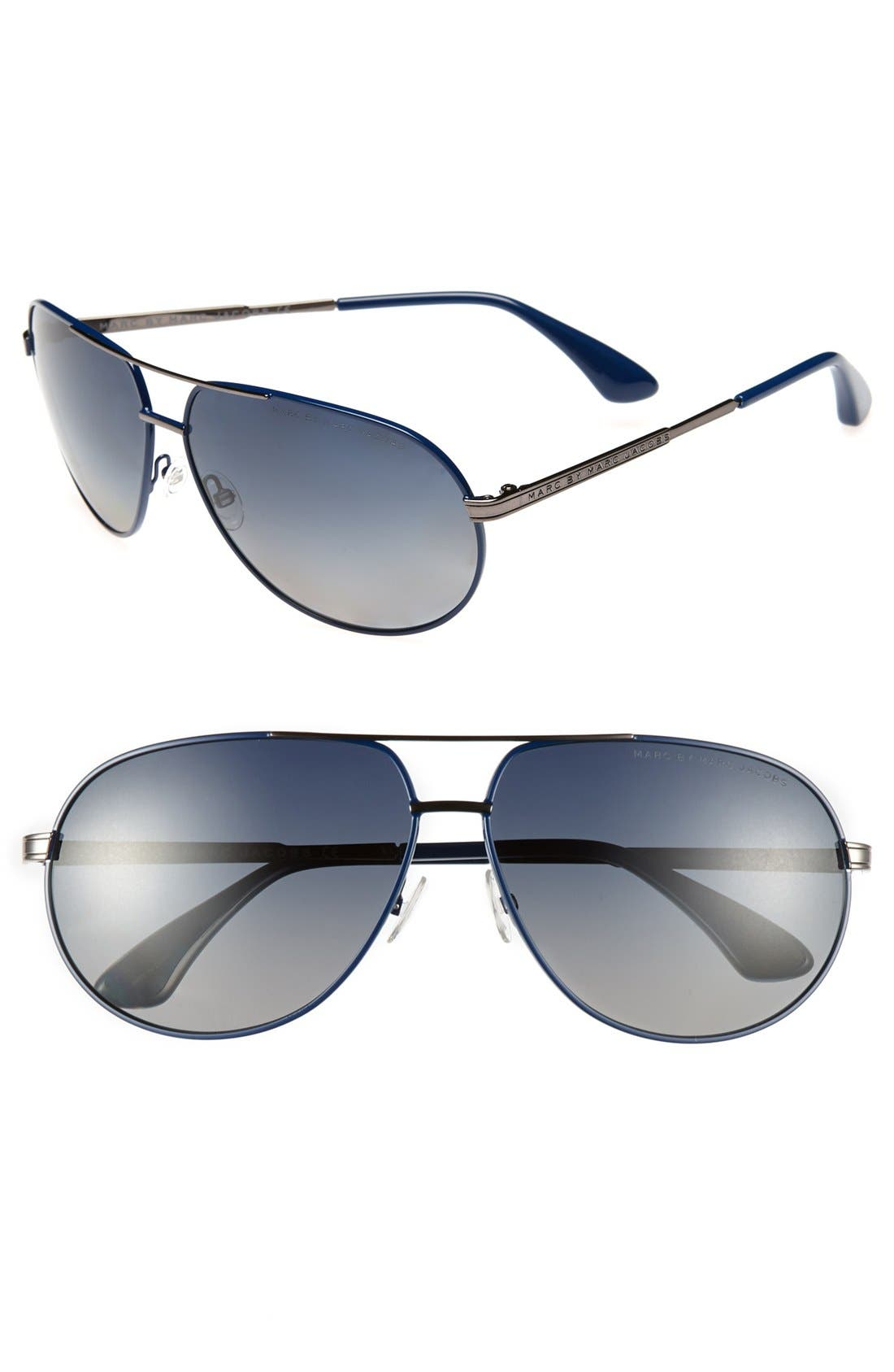 Main Image - MARC BY MARC JACOBS 63mm Polarized Aviator Sunglasses