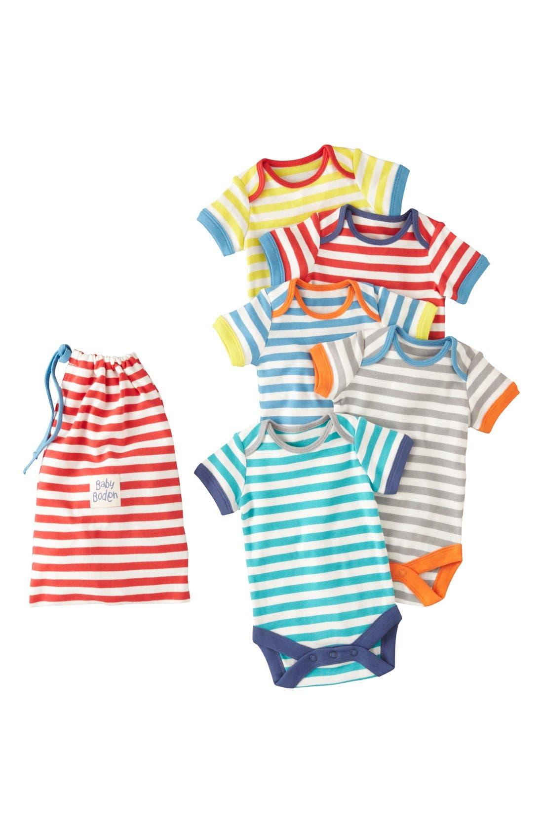 Main Image - Mini Boden 'Summer' Bodysuits (5-Pack) (Baby Boys)