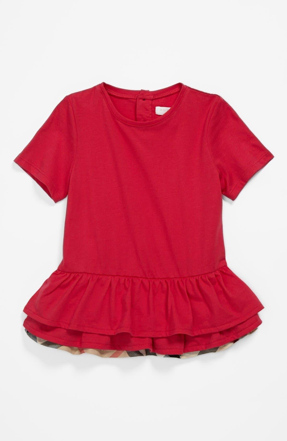 Alternate Image 1 Selected - Burberry 'Mini Tyna' Tiered Ruffle Hem Top (Baby Girls)