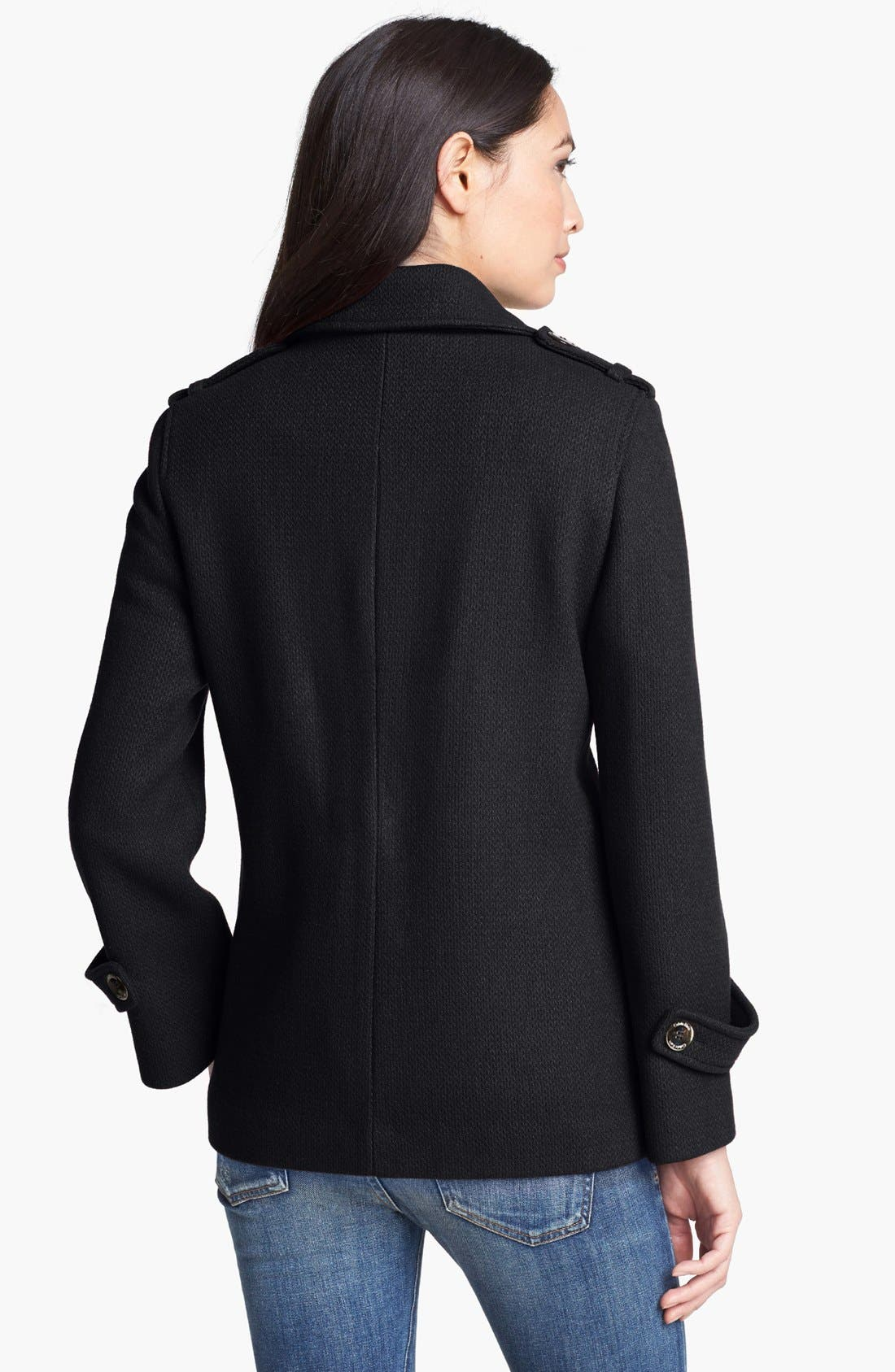 Alternate Image 2  - Calvin Klein Textured Wool Blend Peacoat (Online Only)