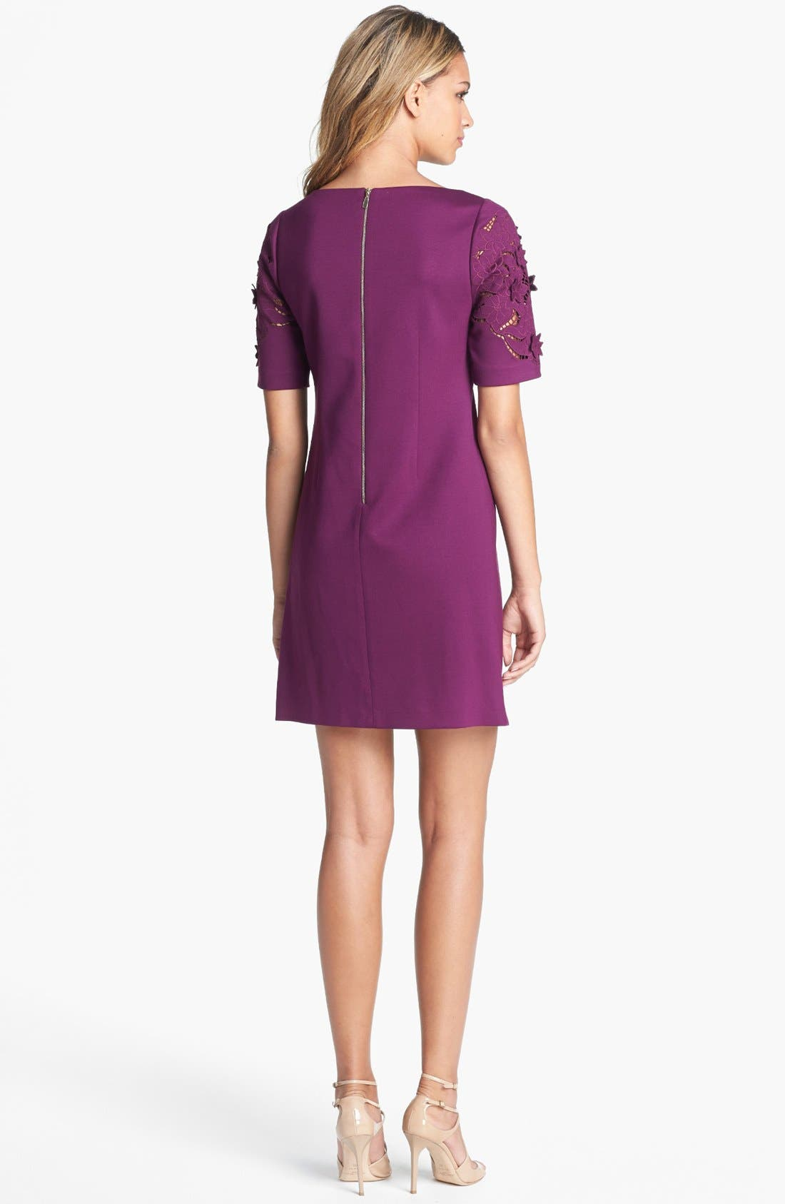 Alternate Image 2  - Laundry by Shelli Segal Laser Cut Ponte Knit Shift Dress