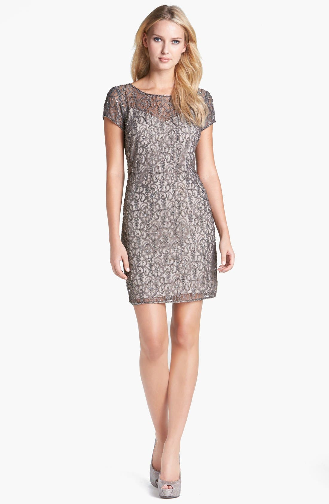 Main Image - Pisarro Nights Beaded Lace Sheath Dress (Petite)
