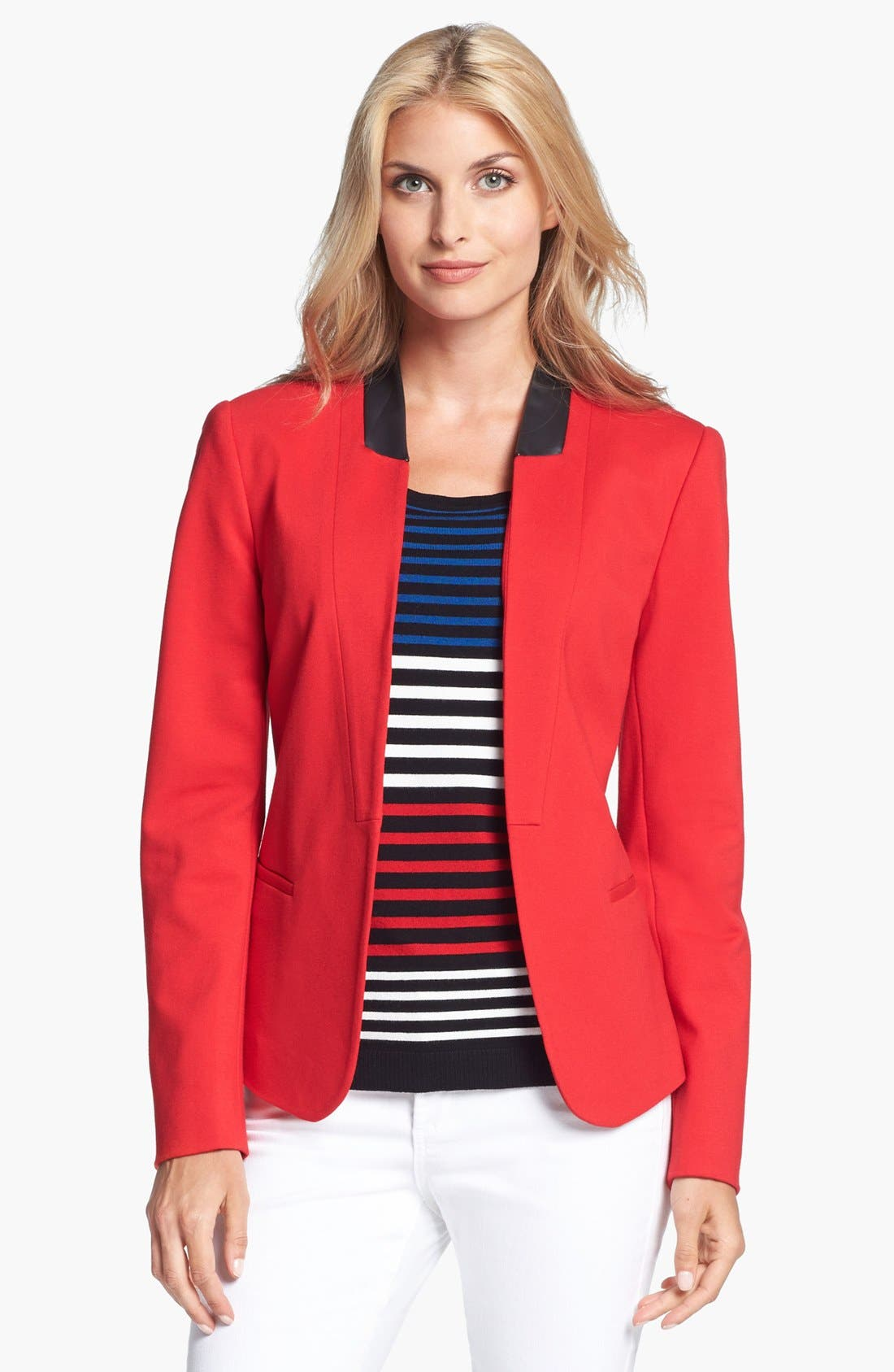 Alternate Image 1 Selected - Chaus Faux Leather Trim Ponte Blazer