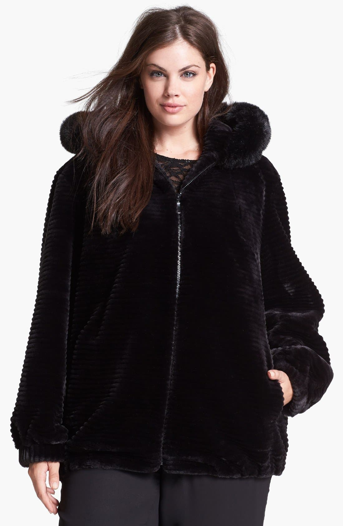Alternate Image 1  - Gallery Hooded Faux Fur Blouson Jacket (Plus Size)