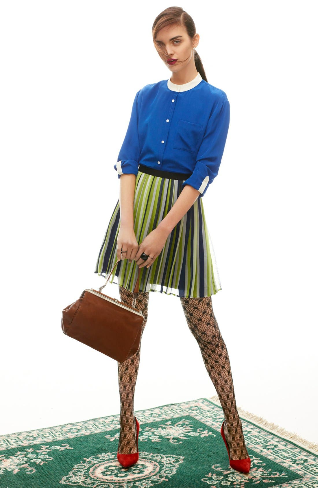Alternate Image 4  - Miss Wu Stripe Pleated Chiffon Skirt (Nordstrom Exclusive)