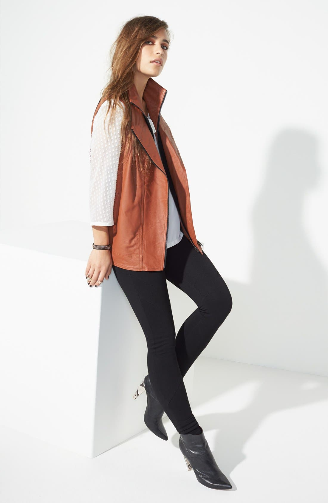 Main Image - Mural Leather Vest, Tildon Mixed Blouse & edyson Ponte Knit Skinny Pants