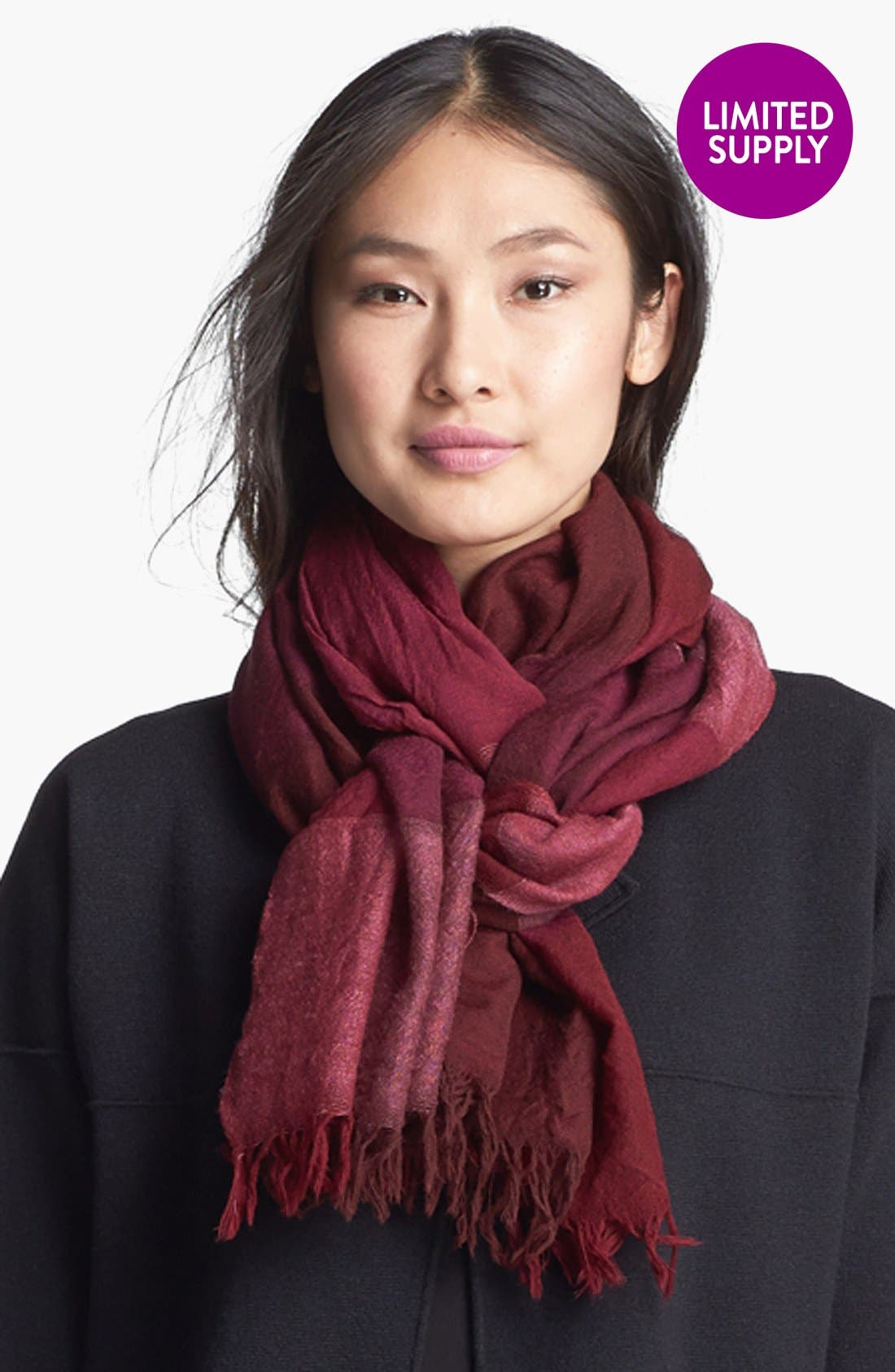 Alternate Image 1 Selected - Eileen Fisher Maxi Check Wool Scarf