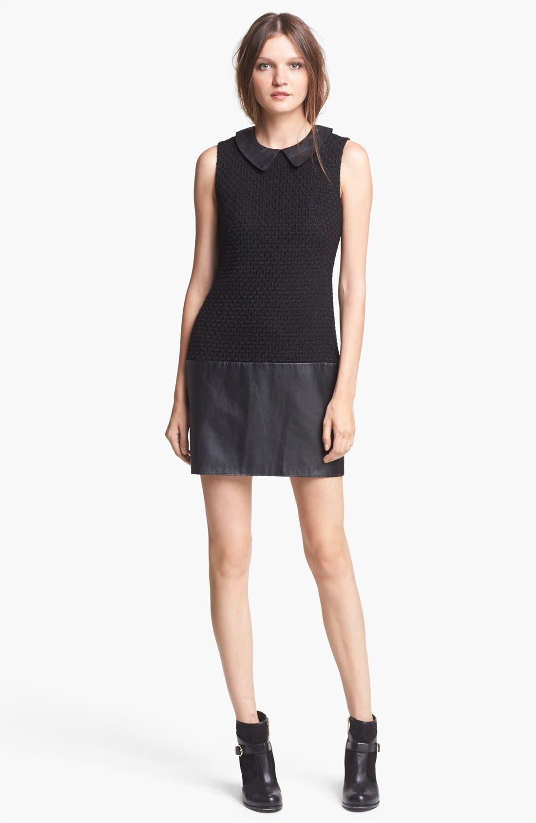 Alternate Image 1 Selected - Rachel Zoe 'Dallas' Leather & Wool Blend Dress