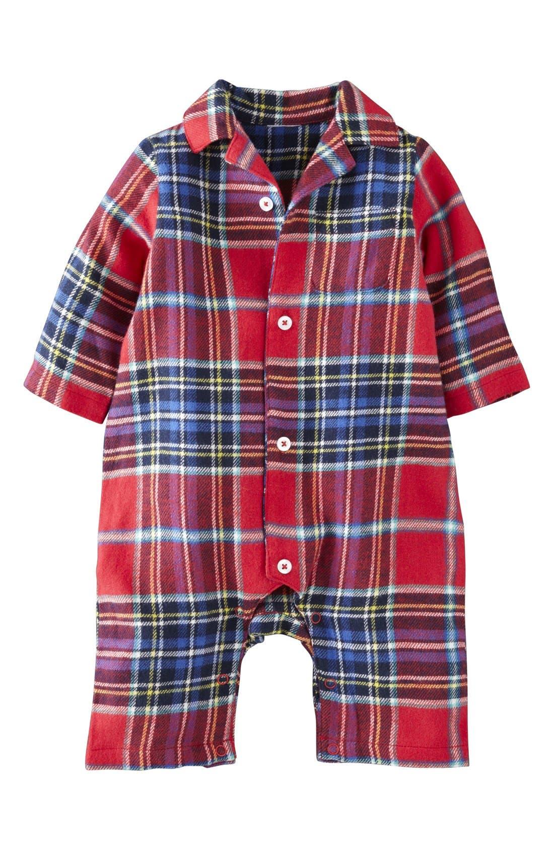 Main Image - Mini Boden Flannel Romper (Baby Boys)
