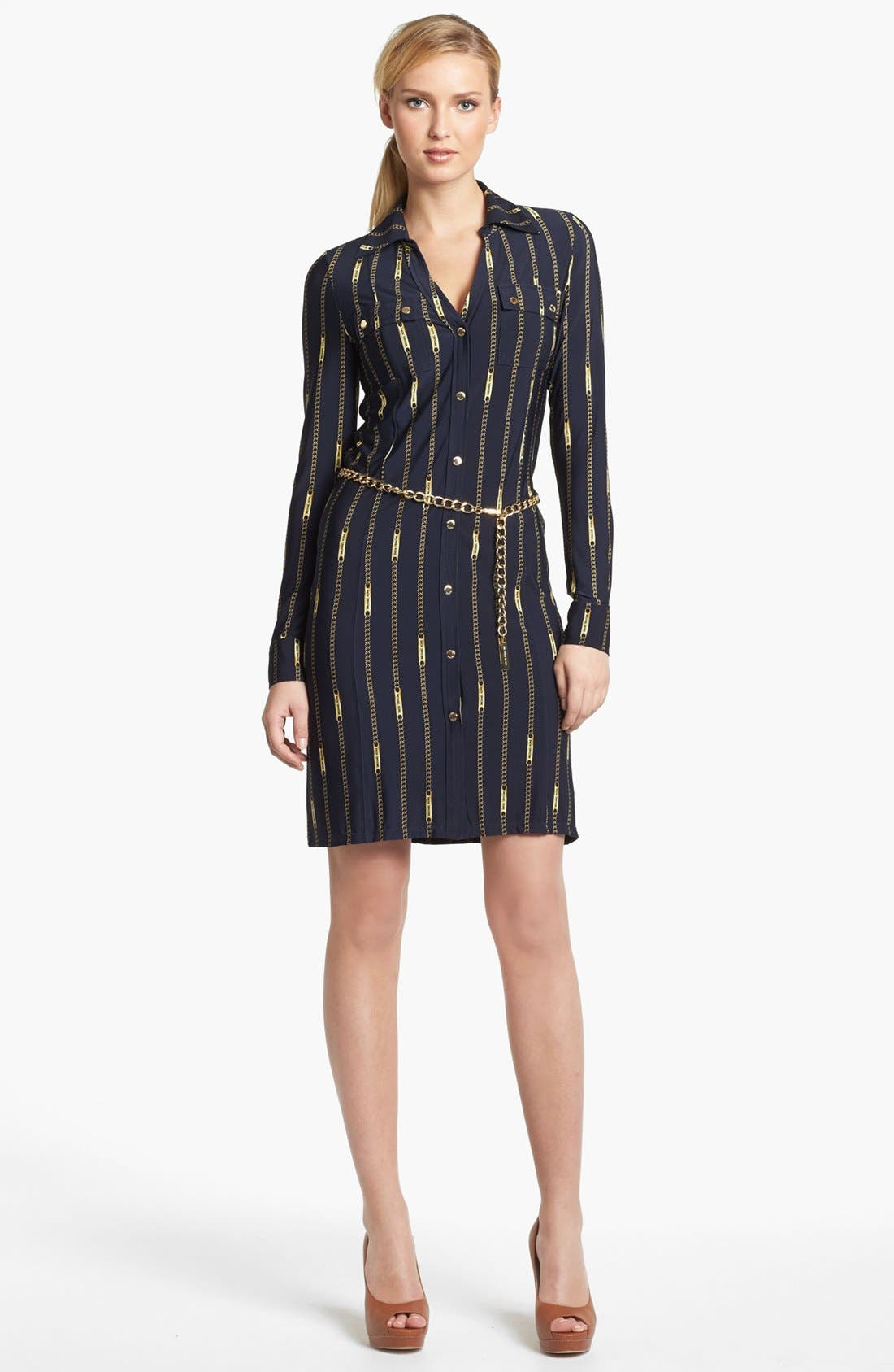 Alternate Image 1 Selected - MICHAEL Michael Kors Belted Print Shirtdress (Regular & Petite)