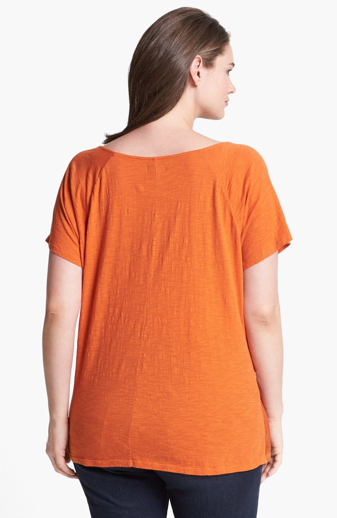 Alternate Image 2  - Lucky Brand 'Lily' Woven Front Tee (Plus Size)