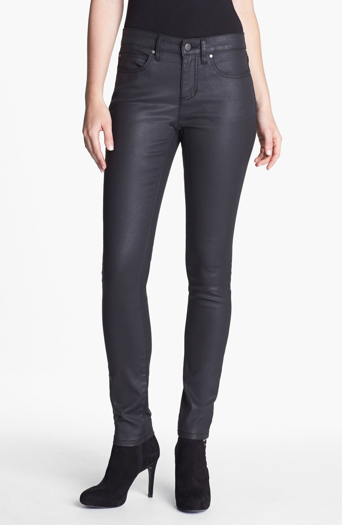 Alternate Image 1 Selected - Eileen Fisher Waxed Denim Skinny Jeans
