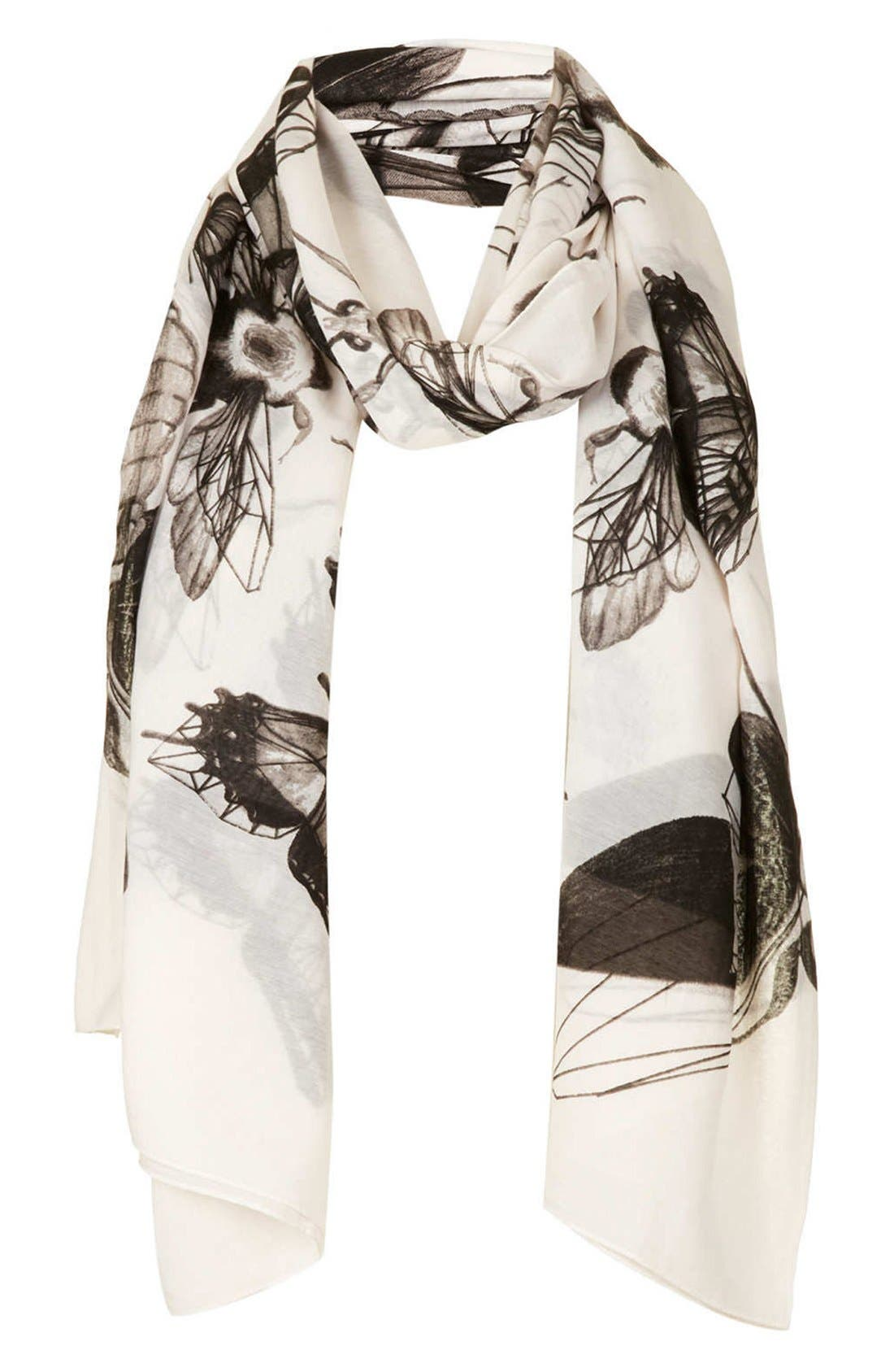 Alternate Image 1 Selected - Topshop Insect Print Scarf