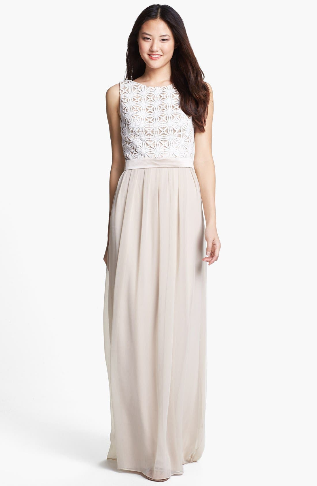 Alternate Image 1 Selected - Lela Rose Bridesmaid Lace & Chiffon Dress (Online Only)