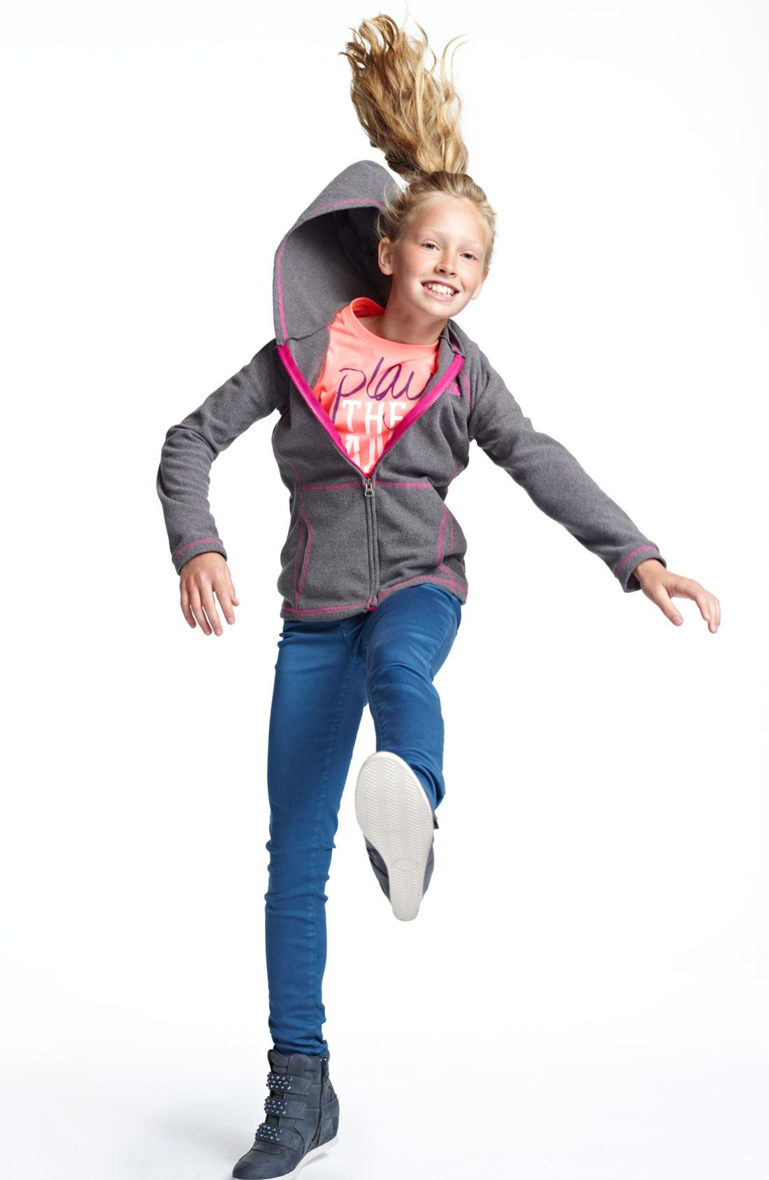Alternate Image 1 Selected - The North Face Hoodie, Under Armour Tee & Tractor Jeans (Big Girls)