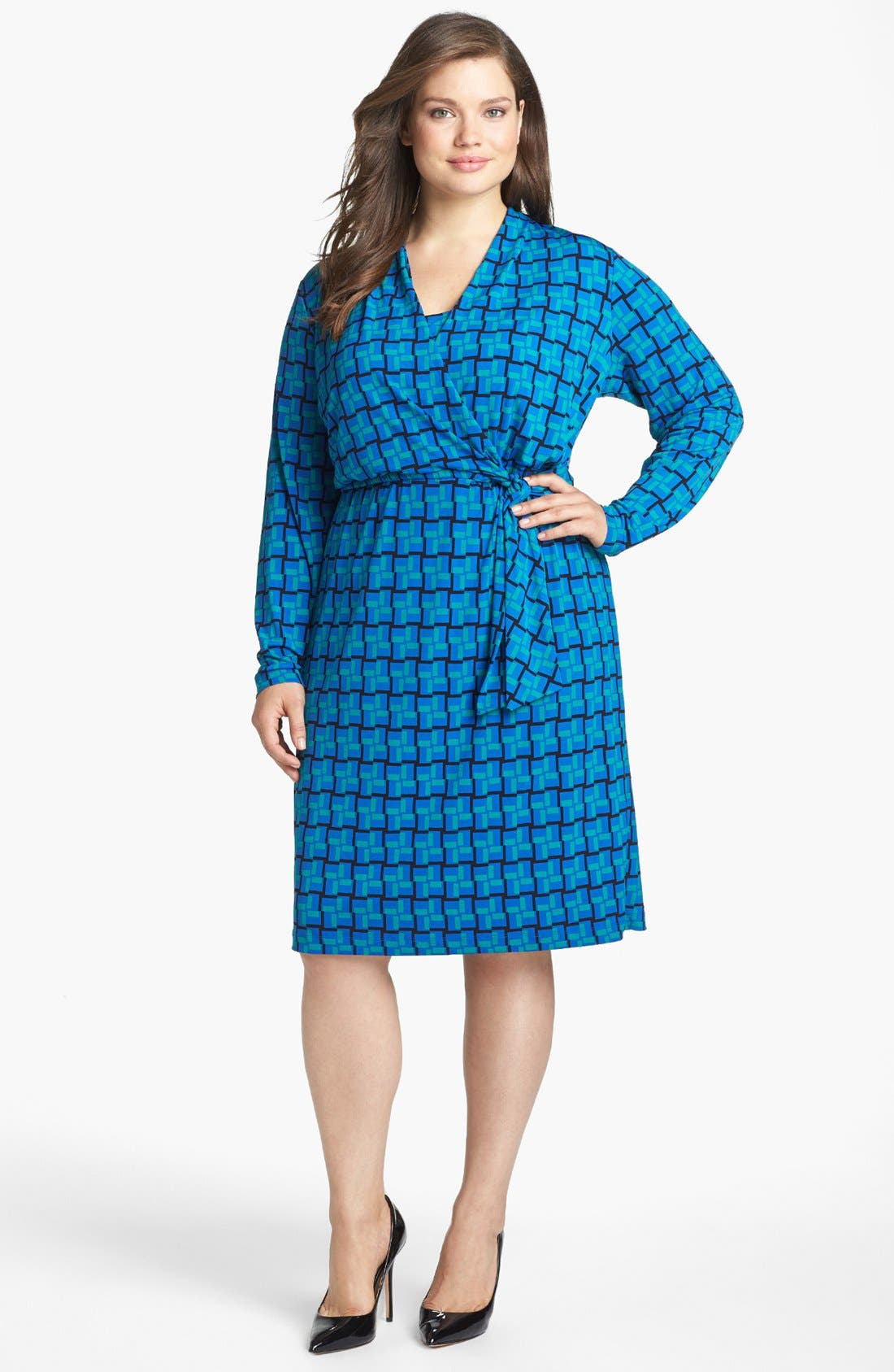 Main Image - Calvin Klein Print Faux Wrap Dress (Plus Size)