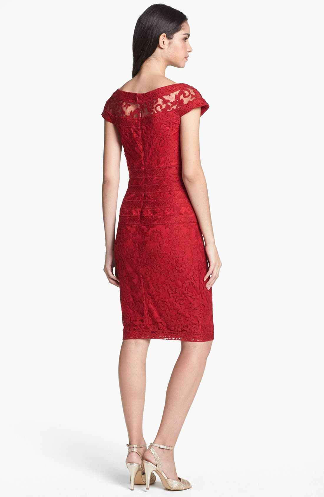 Alternate Image 2  - Tadashi Shoji Embroidered Lace Sheath Dress (Regular & Petite)